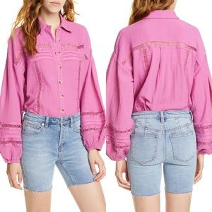 Free People Summer Stars Purple Button Down Blouse